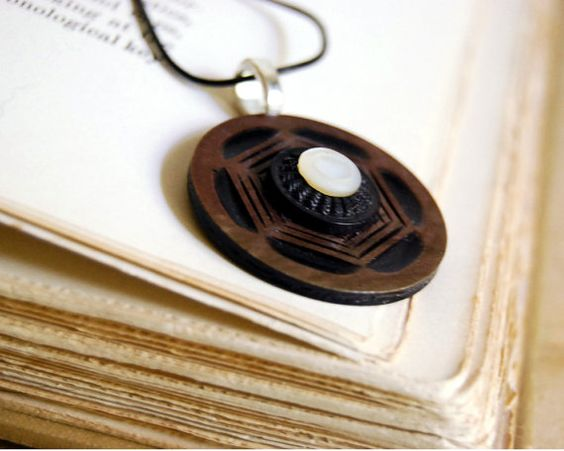 Geometric Vintage Button Necklace Celluloid by CalloohCallay