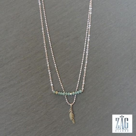 collier zag plume et perles acier blanc 4020 bijoux pinterest boutiques. Black Bedroom Furniture Sets. Home Design Ideas