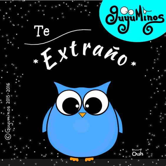 Te extraño! Siempre estás en nuestros pensamientos! I miss you! #extrañar#teextraño#pensamientos#buho#ilustracion#guyuminos