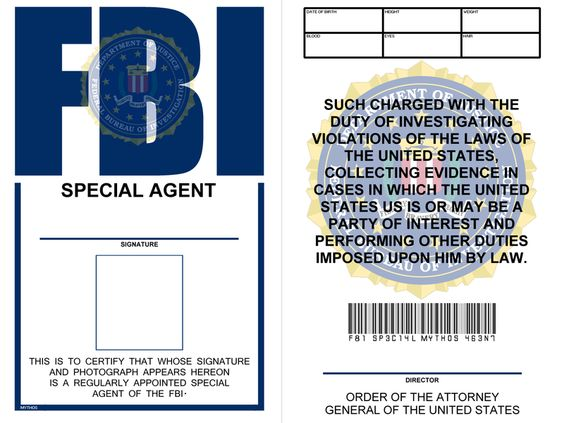 Template for badge fbi badge template free spy fbi for Spy id card template