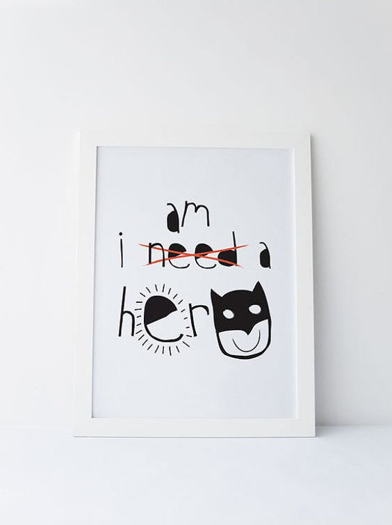 Cute Dinky Mix black and white gender neutral I Am A Hero comic superhero quote by DinkyMix. design character nursery wall art for bedroom or playroom