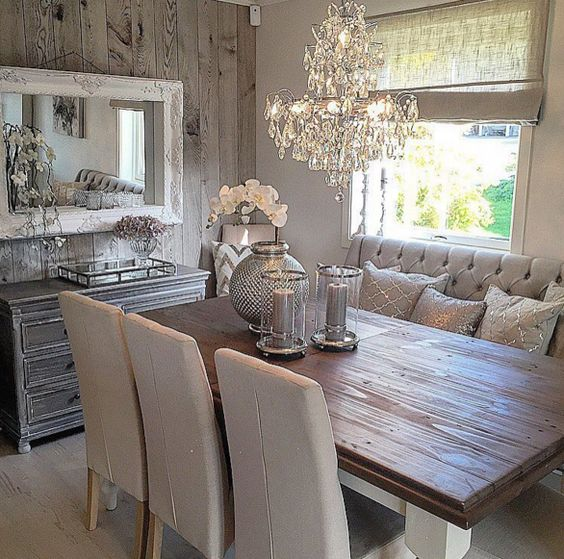 Rustic glam dining space my home pinterest dining for Glam dining room ideas