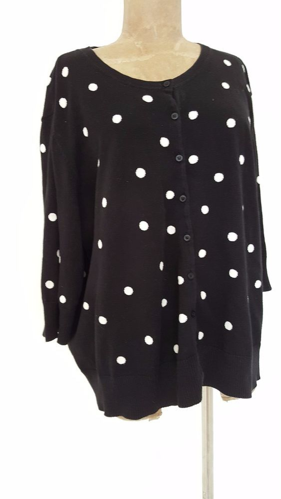 Talbots Cardigan Sweater Size 3X Plus Polka Dot Womens Pima Cotton Long Sleeve #Talbots #Cardigan