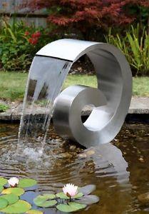 Detalles de Fuente de Agua Jardín Espiral de Acero Inoxidable Grande 65cm…