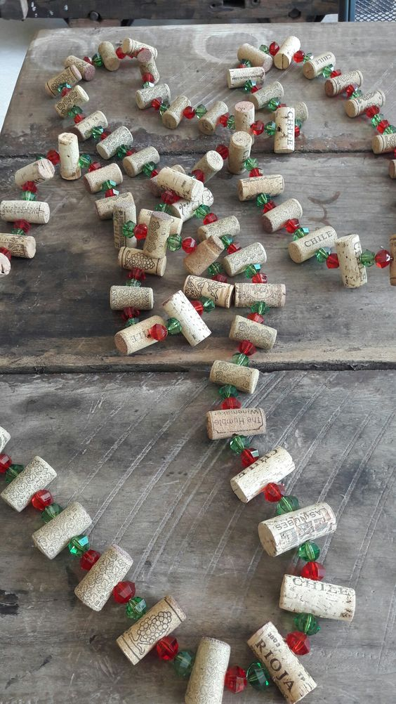cork and bead garland - would shorter strand/heavier wire make a wreath?