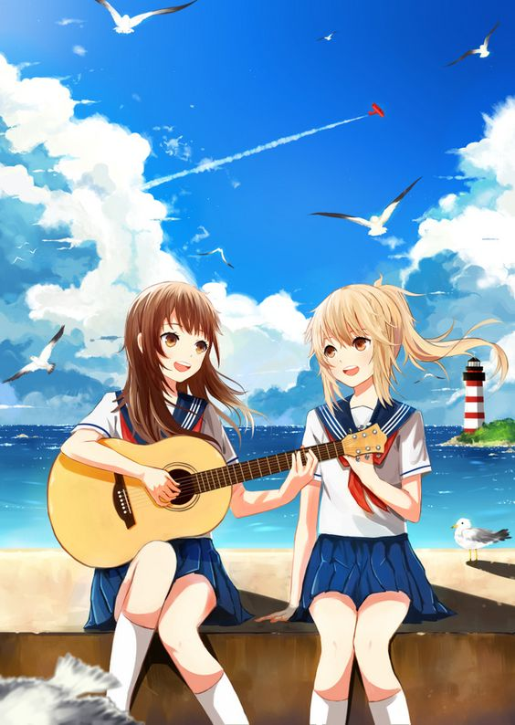 ✮ ANIME ART ✮ music. . .musician. . .acoustic guitar. . .school girls. . .friends. . .school uniform. . .seifuku. . .beach. . .ocean sky. . .cute. . .kawaii: