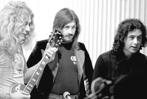 Robert Plant, John Bonham and Jimmy Page of Led Zeppelin at a Japanese press conference (1972)