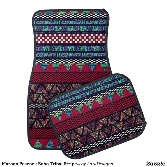 Maroon Peacock Boho Tribal Stripes Pattern Car Floor Mats Set #zazzle