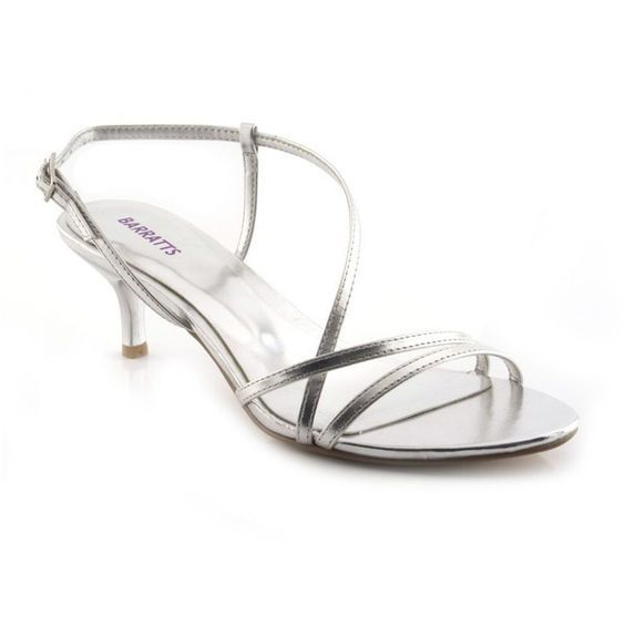 Silver Kitten Heel Strappy Sandal 32 Found On Polyvore Silver Kitten Heels White Strappy Sandals Silver Wedding Shoes