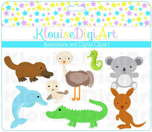 Australia Outback  Cute animals   Digital Clip by KlouiseDigiArt, $2.50