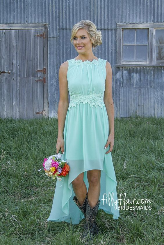 Love the high low need in purple. The boots make this bridesmaid ...