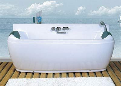 two person whirlpool jetted bathtub with dual head rests