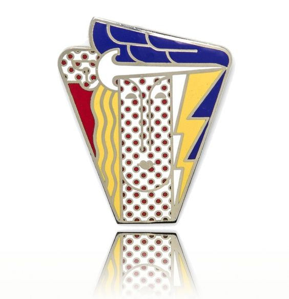 "ROY LICHTENSTEIN ""Modern Head"" 1968 Brooch Country: USA Period: 1968  Description: A Metal and Polychrome Enamel Pendant Brooch by pop artist Roy Lichtenstein, Circa 1968, entitled ""Modern Head"", measuring approximately 76.00 x 60.00 mm. Stamp: 1968 Roy Lichtenstein for multiples inc. (artist signature). 41.10 dwts.  Condition: Very Good Period: 1968 Materials/Techniques: Metal and Polychrome Enamel Creator: Roy Lichtenstein  Price: $8,950  www.xaviervintagecollection.com"
