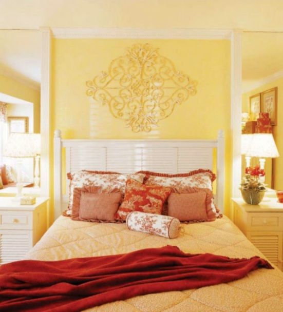 yellow red bedroom interior design decoration color scheme