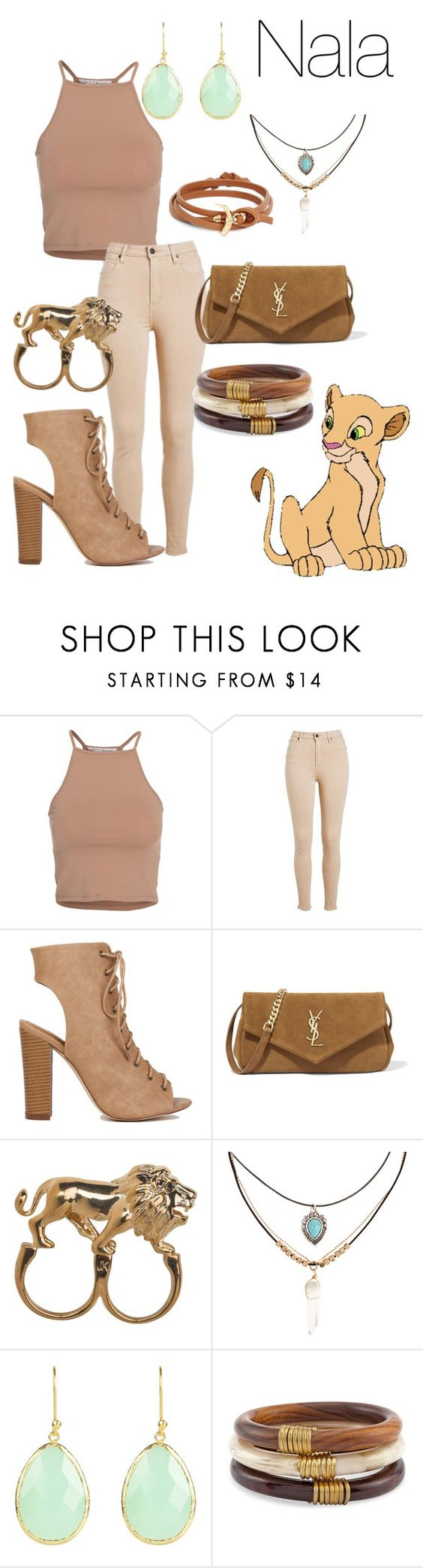 """""""Nala"""" by lauren-e-carroll ❤ liked on Polyvore featuring NLY Trend, Yves Saint Laurent, Stussy, Accessorize, Chico's, Tory Burch, disney, disneybound, Nala and thelionking"""