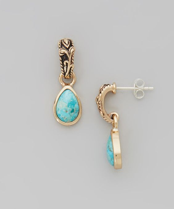 Love this Turquoise & Bronze Pear Drop Earrings by Moda Designs on #zulily! #zulilyfinds