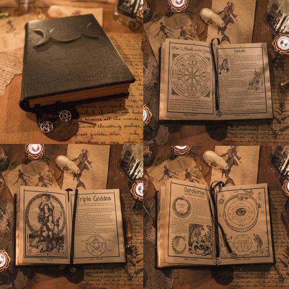 Noir cuir Triple déesse Grimoire magie livre des ombres BOS