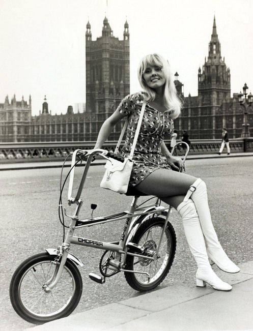 Girl sitting on a Chopper bicycle, Westminster Bridge, London 1960's