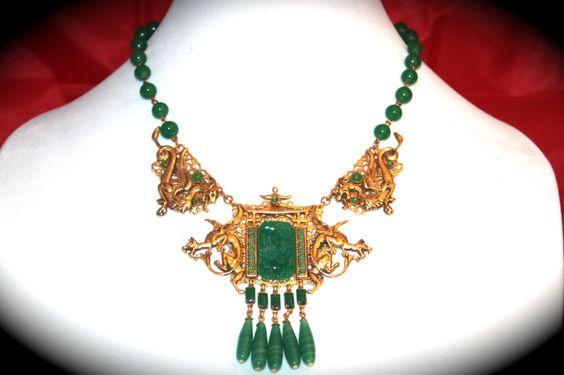 "Askew London ""Dragon Gate"" Necklace GP Brass Faux Jade Vintage Peking Glass | eBay"