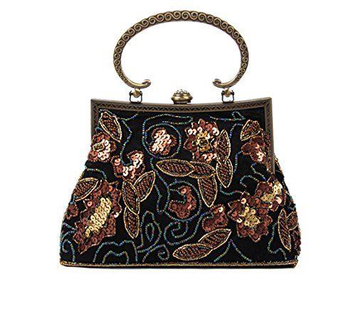 Fashion Womens Coin Purse Black White Gold Stars Vintage Pouch Kiss-lock Mini Purse Wallets