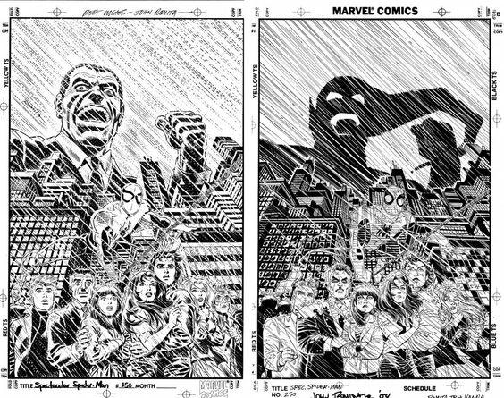 JOHN ROMITA SR & JR SPECTACULAR SPIDER-MAN #250 GATEFOLD COVER Comic Art