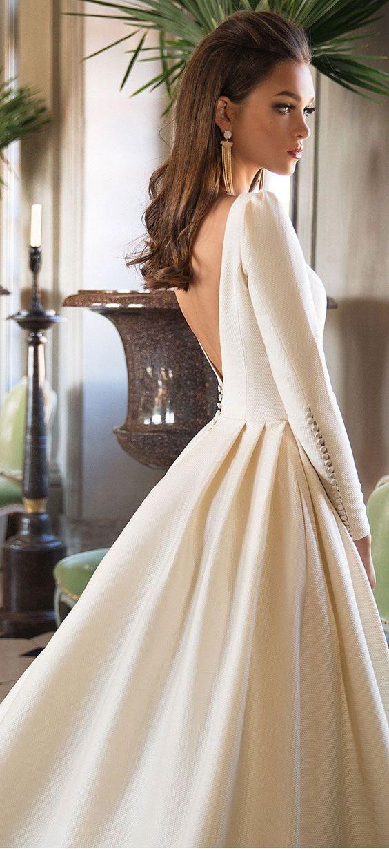 Long sleeves simple a line wedding dress