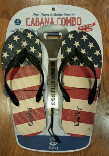 NEW Wembley Cabana Combo American USA Flag Flip Flops & Sunglasses 9-10 Medium