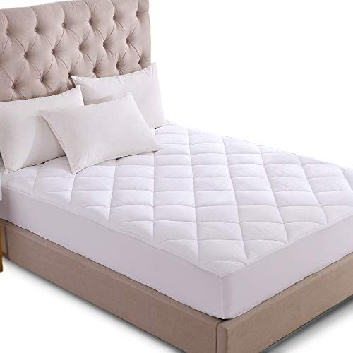 Kasentex Quilted Fitted Mattress Pad Mattress Protector Stretches Up To 18 Inches Deep 300 Tc Cotton Jacquard Fab Mattress Mattress Pad Air Mattress Bedroom