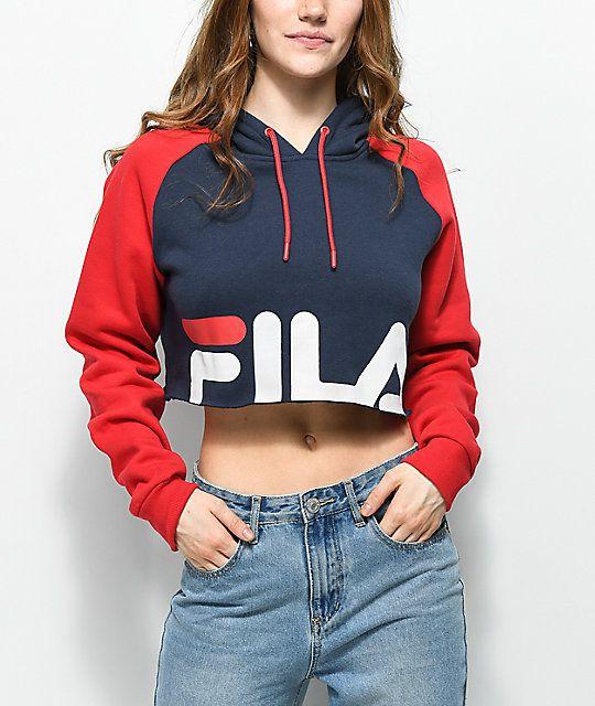 primera vista 100% de calidad boutique de salida FILA Luciana Navy & Red Crop Hoodie in 2019 | Fila outfit ...
