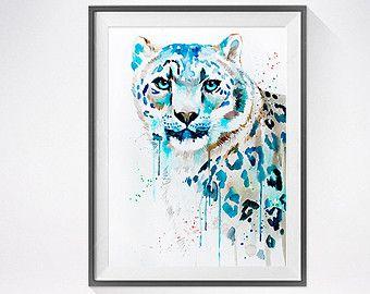 Aquarelle de Lion peinture impression art lion art par SlaviART