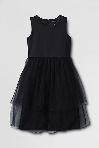 Girls' Sleeveless Ponté Tulle Dress from Lands' End