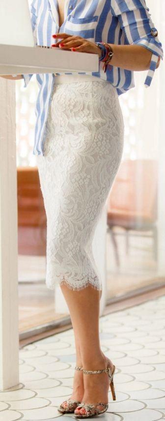 Striped Shirt and White Lace Midi Skirt