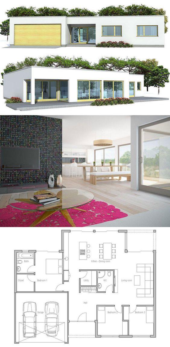Plan de petite maison petites maisons pinterest for Plan petite maison contemporaine