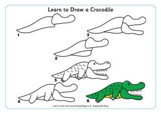 Learn to draw animals for the kiddies pinterest - Dessiner un crocodile ...