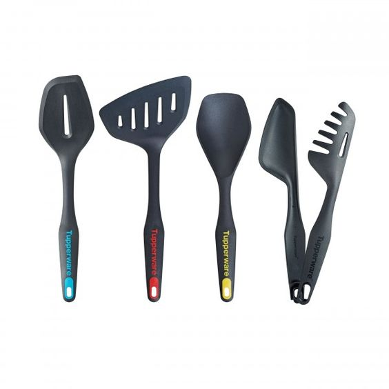 Kitchen Tools 4-Pc. Set:          Durable, well-designed essentials are ideal for use with both UltraPro Ovenware and Chef Series Cookware. Includes Spatula, Large Spatula, Serving Spoon and Tongs.In Black/Tropical, Black/Popsicle, Black/Sunny and BlackDishwasher safeLimited Lifetime Warranty    Item:10125212000