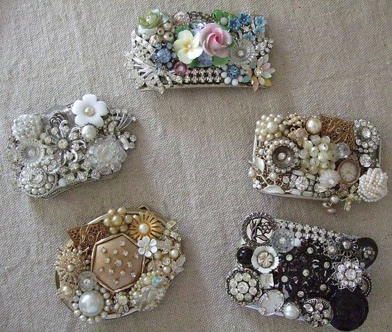 buckles from vintage jewelry bits...