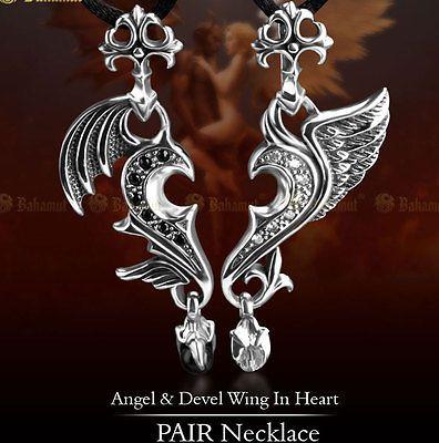 New 925 Sterling Silver CZ Angel Devil Wing Couples Pendants Pendant Necklace