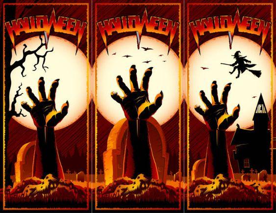 Zombie-Hand Friedhof Halloween Vintage-Hintergrund Horror drucken Flyer rot – Vektorgrafik
