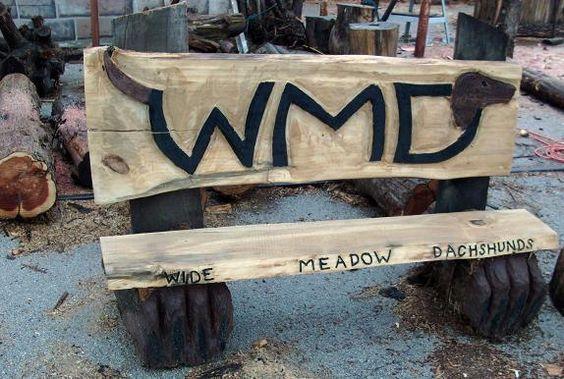 chainsaw carved harley davidson bench | wmd dachshund slab bench chainsaw carving carved
