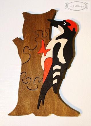 Puzzle en bois, pic épeiche, oiseau, jouet enfant : Jeux, jouets par az-design