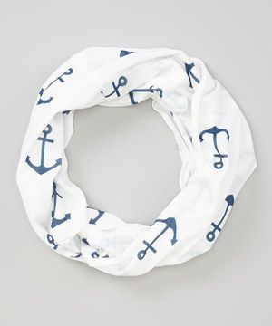 Another great find on #zulily! Navy & White Anchor Infinity Scarf by Bubbly Bows #zulilyfinds