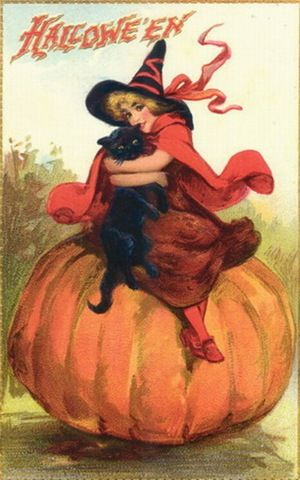 Vintage Halloween Greeting Card. Image(s) courtesy VintageHolidayCrafts.com: Halloween Witch, Vintage Card, Halloween Greeting, Halloween Postcards, Vintage Halloween Cards, Vintage Witch, Black Cat