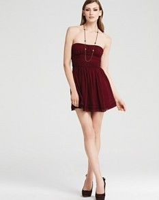 Amazing Beautiful Wine red Taffeta Strapless Cut Out Party Dresses ...