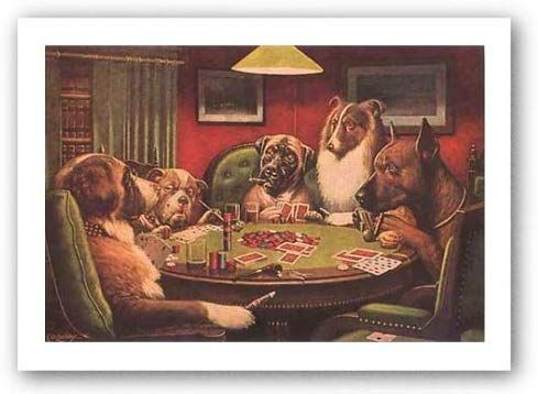 Amazon Com A Bold Bluff By C M Coolidge Dogs Playing Poker Art Print Poster Overall Size 25x19 Image Size 20 75x1 With Images Dog Paintings Dog Art Dogs Playing Poker