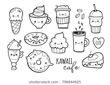 Kawaii Cafe Various Cute Food Hand Drawn Vector Set All
