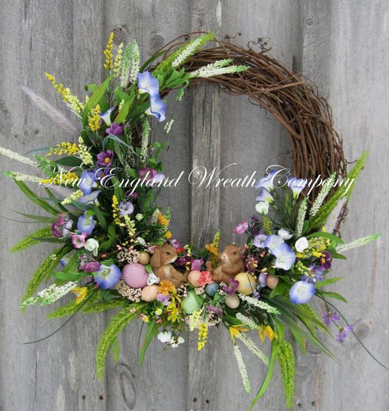 Spring Meadow Bunny Wreath by NewEnglandWreath