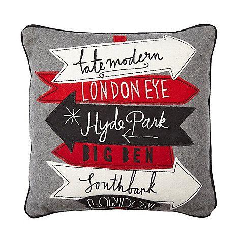 Ben de Lisi Home Designer grey wool blend London cushion- at Debenhams Mobile