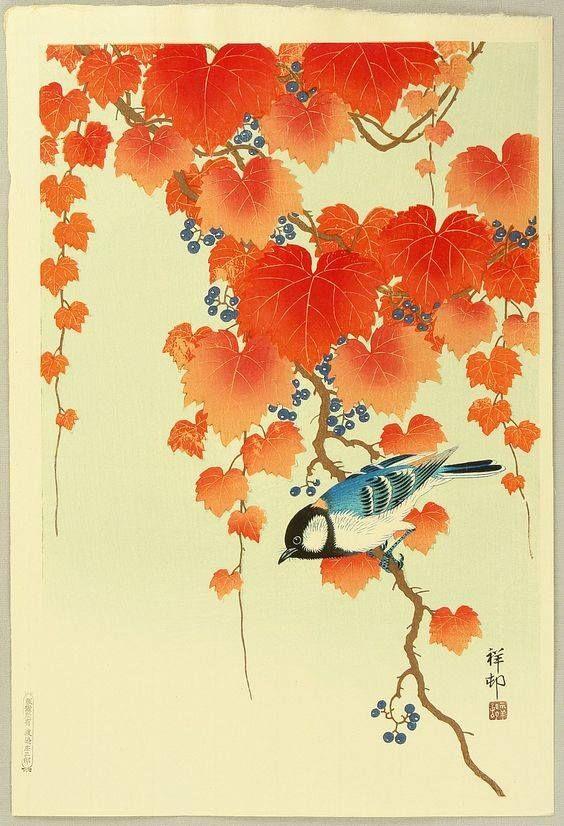 Ohara Koson, Bird and Wild Grapes or Red Ivy, 1934   Japanese art, Ohara koson, Japanese woodblock printing