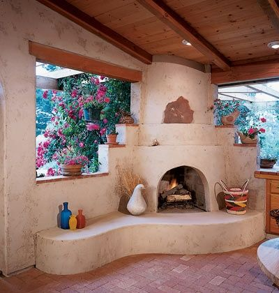 Patio roof mexican style and fireplaces on pinterest for Southwestern fireplaces