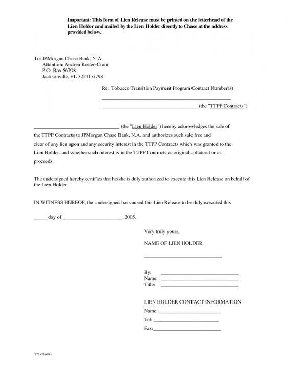Letter Of Release Form Mechanics Lien Release Form Auto Lien auto ...